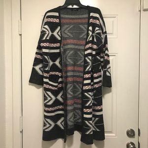 Papaya Aztec Cardigan - Gray -Heavy Fabric - M/L